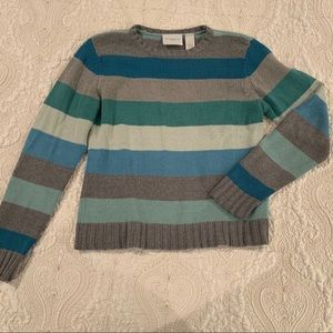 Stripped teal, blue gray sweater